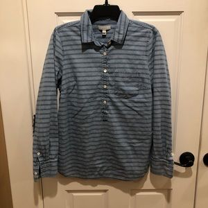 J Crew size 6 denim striped pullover shirt